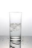 Água com os cubos de gelo no vidro Fotos de Stock