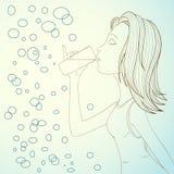 A água da bebida da menina no sumário borbulha fundo Imagem de Stock Royalty Free