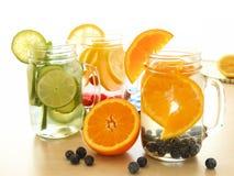 Água da desintoxicação com vários tipos de fruto em uns frascos de pedreiro Imagem de Stock