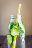 Água da desintoxicação infundida com os frutos Fruto da água do verão em vagabundos rústicos Fotografia de Stock Royalty Free