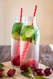 Água da desintoxicação infundida com os frutos Fruto da água do verão em vagabundos rústicos Fotos de Stock