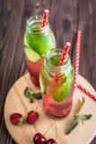 Água da desintoxicação infundida com os frutos Fruto da água do verão em vagabundos rústicos Imagem de Stock
