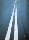 Água de chuva em um asfalto fresco Fotografia de Stock