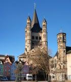 Água de Colônia, Alemanha - 19 de janeiro de 2017: Igreja de St Martin bruto fotografia de stock royalty free