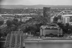 Água de Colônia com uma vista de cima de preto e branco Fotografia de Stock