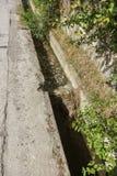 A água de esgoto e o agregado familiar sujos rubbish no rio pequeno, crescimento rápido das causas do canal de irrigação das alga fotos de stock