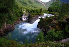 Água de fluxo rápida de Trollstigen Fotos de Stock Royalty Free
