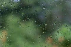 A água deixa cair o fundo verde foto de stock royalty free