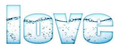 A água deixa cair o sinal do amor imagens de stock
