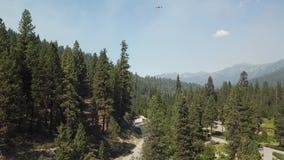 Água do helicóptero do incêndio florestal de Idaho filme