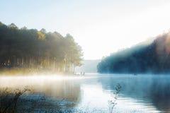 Água do lago no nascer do sol no inverno fotografia de stock royalty free