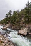 Água do rio de pressa do córrego através da garganta Colorado de onze milhas Fotografia de Stock