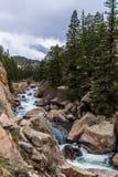Água do rio de pressa do córrego através da garganta Colorado de onze milhas Fotos de Stock Royalty Free