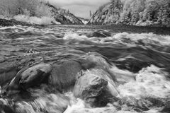 Água do rio que apressa-se sobre rochas Fotografia de Stock