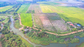 Água do uso da represa para o arroz crescido Imagem de Stock