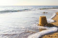 Água e areia de mar Fotografia de Stock