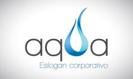 Água e fogo - logotipo - azul Imagens de Stock Royalty Free