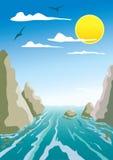 Água e rochas Foto de Stock