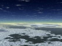 Água escura e gelo branco Imagens de Stock
