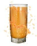 A água espirra em cores alaranjadas em torno de um vidro opaco ilustração royalty free
