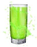 A água espirra em cores verdes em torno de um vidro opaco ilustração stock
