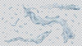 A água espirram e as gotas da água Transparência somente no arquivo do vetor Fotos de Stock