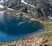 A água está muito fria no lago da montanha imagens de stock royalty free