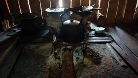 Água a ferver do potenciômetro do chá no fogo de madeira video estoque