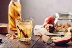 Água infundida com a pera, canela, gengibre Fotografia de Stock