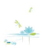 Água Lili e libélula ilustração stock