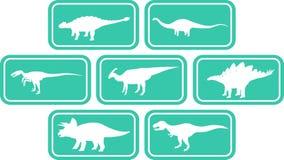 Água-marinha ajustada do emblema retangular do dinossauro Fotografia de Stock