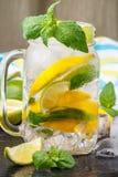 Água mineral com limão, cal e hortelã detox Dieta Bebida de refrescamento Imagem de Stock