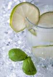 Água mineral pura com gelo e limão Foto de Stock Royalty Free