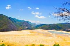 Água mineral térmica do EL de Hierve da mola, Oaxaca, México 19 de maio de 2015 Imagem de Stock
