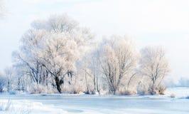 Água, neve e gelo congelados no rio de Dnieper Fotografia de Stock