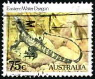 Água oriental Dragon Australian Postage Stamp imagem de stock royalty free