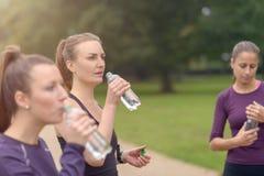 Água potável atlética das mulheres após um exercício foto de stock royalty free