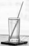 Água potável com palha Fotografia de Stock