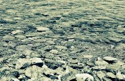 Água pouco profunda com pedras para dentro Foto de Stock