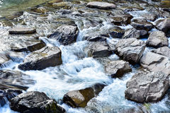 Água que corre através de rochas Fotos de Stock