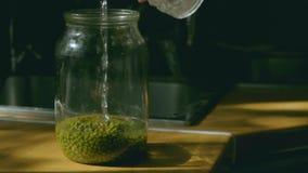 Água que derrama no frasco de vidro com mung dal ou no close-up do grama dourado na luz natural filme