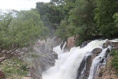 Água que flui vigorosamente no meio da floresta fotografia de stock royalty free