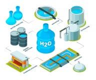 Água que limpa 3D Tanque químico industrial do reservatório da planta de água de esgoto dos sistemas da purificação do Aqua para  ilustração royalty free