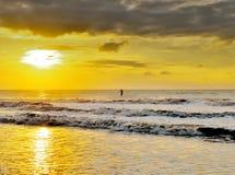 Água que ostenta no por do sol Imagem de Stock