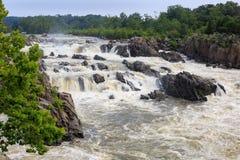 Água Raging o Rio Potomac Great Falls Virgínia Fotografia de Stock Royalty Free