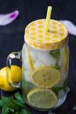 Água saudável com hortelã, os limões cortados e os pepinos Bebida da dieta Água Sassy Frasco de pedreiro completamente com frutas Foto de Stock Royalty Free