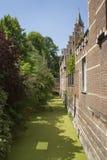 Água verde completa das algas em um canal em Michelen, Bélgica imagem de stock royalty free