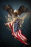 Águia calva com bandeira americana ilustração do vetor