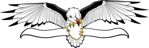 Águia com protetor e bandeira ilustração royalty free