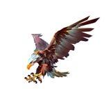 Águia de ataque do pássaro em um fundo branco ilustração stock